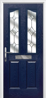 2 Panel 2 Angle Crystal Diamond Composite Front Door in Blue