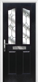 2 Panel 2 Angle Crystal Diamond Composite Front Door in Black