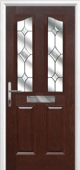 2 Panel 2 Angle Crystal Diamond Composite Front Door in Darkwood