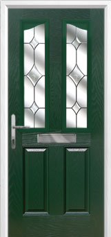 2 Panel 2 Angle Crystal Diamond Composite Front Door in Green