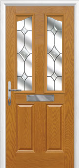 2 Panel 2 Angle Crystal Diamond Composite Front Door in Oak
