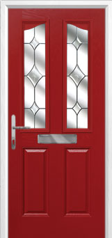 2 Panel 2 Angle Crystal Diamond Composite Front Door in Red