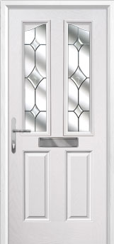 2 Panel 2 Angle Crystal Diamond Composite Front Door in White