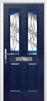 2 Panel 2 Angle Crystal Harmony Composite Front Door in Blue
