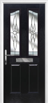 2 Panel 2 Angle Crystal Harmony Composite Front Door in Black