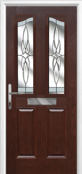 2 Panel 2 Angle Crystal Harmony Composite Front Door in Darkwood