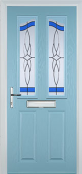 2 Panel 2 Angle Crystal Harmony Composite Front Door in Duck Egg Blue