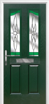 2 Panel 2 Angle Crystal Harmony Composite Front Door in Green