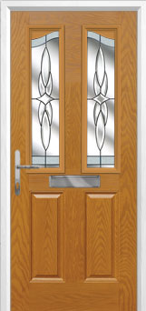 2 Panel 2 Angle Crystal Harmony Composite Front Door in Oak