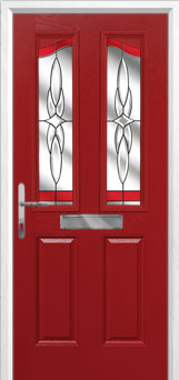2 Panel 2 Angle Crystal Harmony Composite Front Door in Red