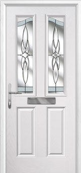 2 Panel 2 Angle Crystal Harmony Composite Front Door in White