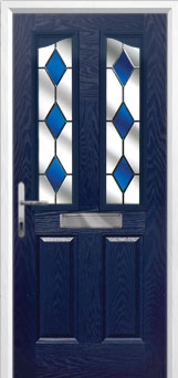 2 Panel 2 Angle Drop Diamond Composite Front Door in Blue