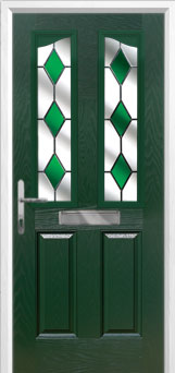 2 Panel 2 Angle Drop Diamond Composite Front Door in Green