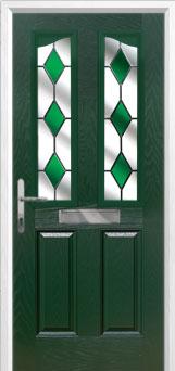 2 Panel 2 Angle Drop Diamond Composite Front Door in Green