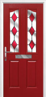 2 Panel 2 Angle Drop Diamond Composite Front Door in Red