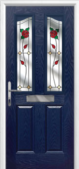 2 Panel 2 Angle English Rose Composite Front Door in Blue