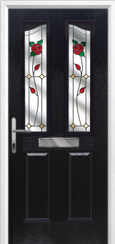2 Panel 2 Angle English Rose Composite Front Door in Black