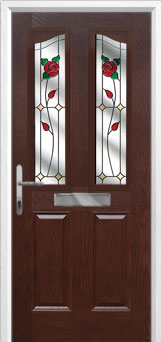 2 Panel 2 Angle English Rose Composite Front Door in Darkwood