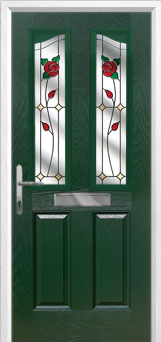 2 Panel 2 Angle English Rose Composite Front Door in Green