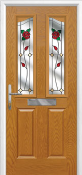2 Panel 2 Angle English Rose Composite Front Door in Oak