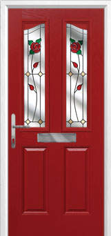 2 Panel 2 Angle English Rose Composite Front Door in Red