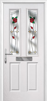 2 Panel 2 Angle English Rose Composite Front Door in White