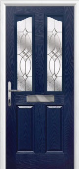 2 Panel 2 Angle Flair Composite Front Door in Blue
