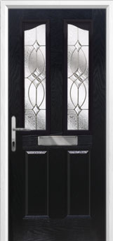 2 Panel 2 Angle Flair Composite Front Door in Black