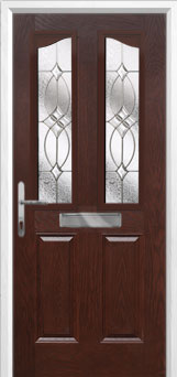2 Panel 2 Angle Flair Composite Front Door in Darkwood