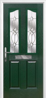 2 Panel 2 Angle Flair Composite Front Door in Green