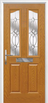 2 Panel 2 Angle Flair Composite Front Door in Oak
