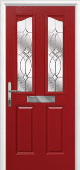 2 Panel 2 Angle Flair Composite Front Door in Red