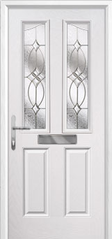 2 Panel 2 Angle Flair Composite Front Door in White
