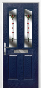 2 Panel 2 Angle Fleur Composite Front Door in Blue