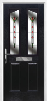 2 Panel 2 Angle Fleur Composite Front Door in Black