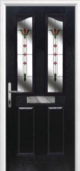 2 Panel 2 Angle Fleur Composite Front Door in Black