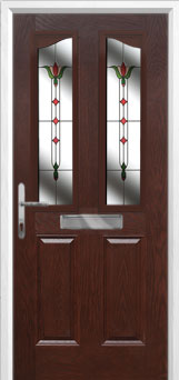 2 Panel 2 Angle Fleur Composite Front Door in Darkwood