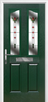 2 Panel 2 Angle Fleur Composite Front Door in Green