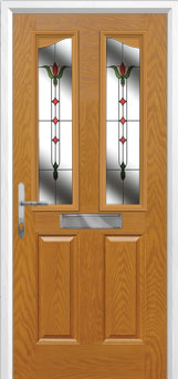 2 Panel 2 Angle Fleur Composite Front Door in Oak