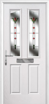 2 Panel 2 Angle Fleur Composite Front Door in White