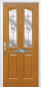 2 Panel 2 Angle Finesse Composite Front Door in Oak