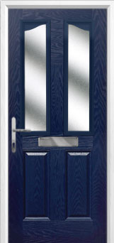 2 Panel 2 Angle Glazed Composite Front Door in Blue