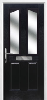 2 Panel 2 Angle Glazed Composite Front Door in Black