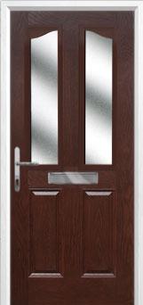 2 Panel 2 Angle Glazed Composite Front Door in Darkwood
