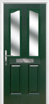 2 Panel 2 Angle Glazed Composite Front Door in Green