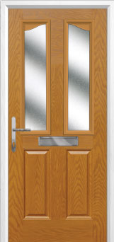 2 Panel 2 Angle Glazed Composite Front Door in Oak