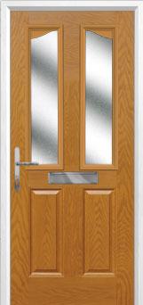 2 Panel 2 Angle Glazed Composite Front Door in Oak
