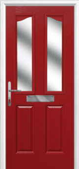 2 Panel 2 Angle Glazed Composite Front Door in Red