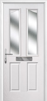 2 Panel 2 Angle Glazed Composite Front Door in White