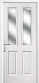2 Panel 2 Angle Glazed Composite Back Door in White